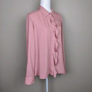 DKNY Button Down Ruffle Front Shirt Size L